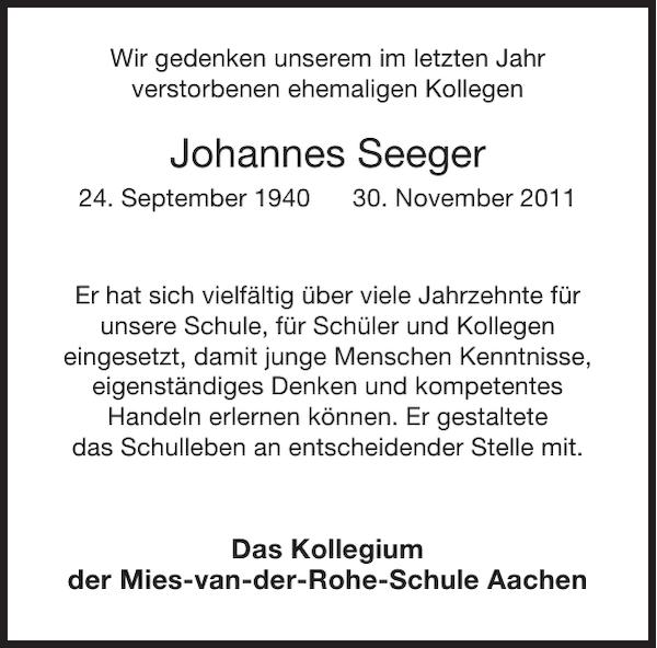 Johannes Seeger Nachruf Aachener Zeitung Aachener Nachrichten