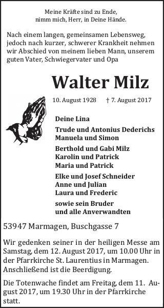 Walter Milz : Traueranzeige, Wochenspiegel