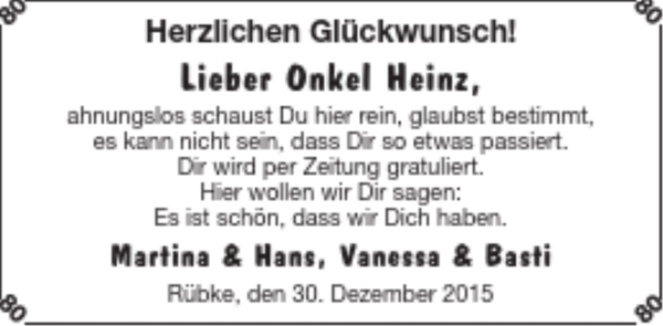 Onkel Heinz Geburtstag Stader Tageblatt