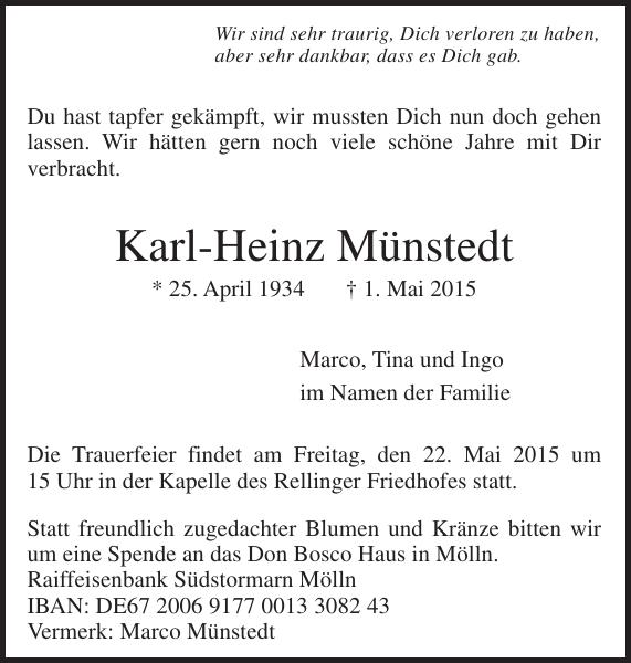 Karl Heinz Munstedt Traueranzeige Pinneberger Tageblatt