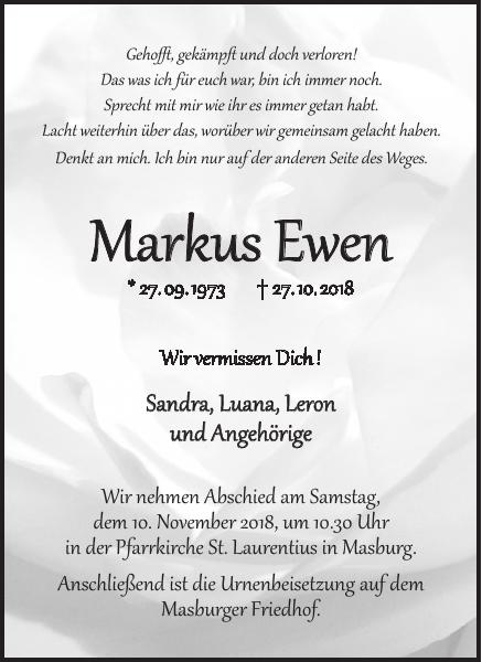 Lieblings Markus Ewen : Traueranzeige, Wochenspiegel @GP_93