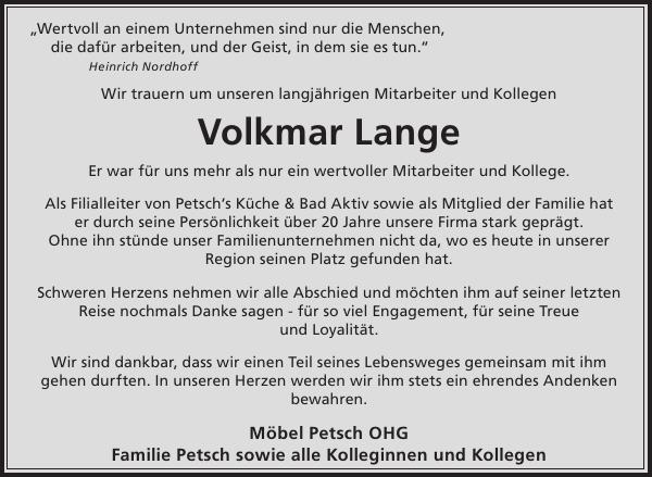 Volkmar Lange Nachruf Wochen Kurier
