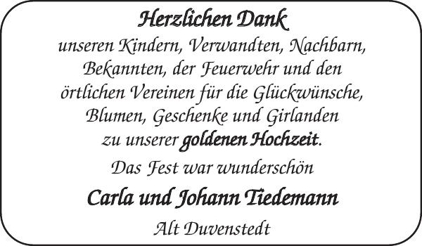 Carla Und Johann Tiedemann Goldene Hochzeit Landeszeitung