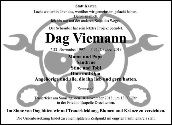 Super Dag Viemann : Traueranzeige, Stader Tageblatt &WB_64