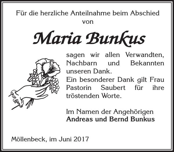 Maria Bunkus Danksagung Ludwigsluster Tageblatt