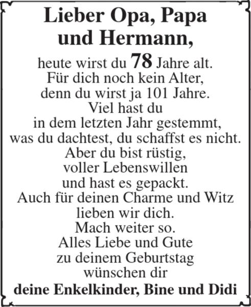 Lieber Opa Papa Und Hermann Geburtstag Stader Tageblatt