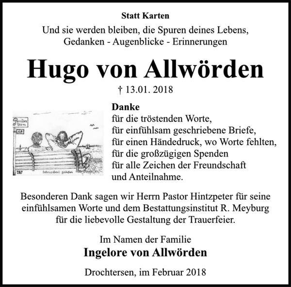 Hugo Von Allwörden Danksagung Stader Tageblatt
