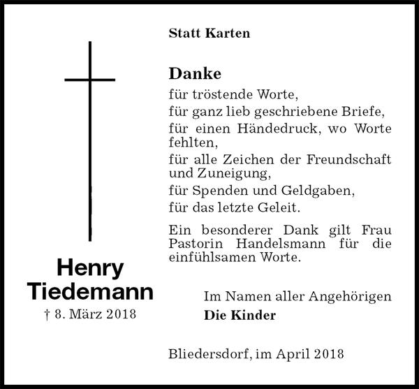 Henry Tiedemann Danksagung Stader Tageblatt