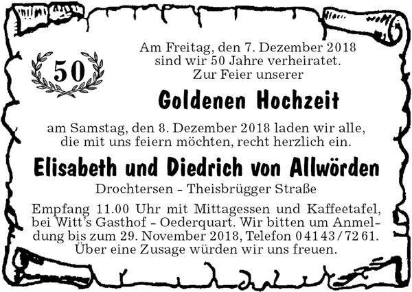 50 Goldene Hochzeit Elisabeth Und Diedrich Von Allworden Goldene