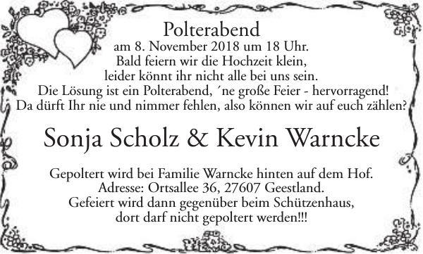 Sonja Scholz Kevin Warncke Hochzeit Nordsee Zeitung
