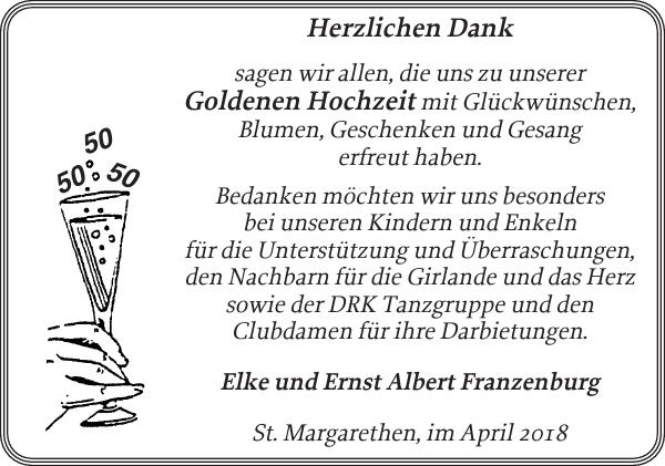 Elke Und Ernst Albert Franzenburg Goldene Hochzeit