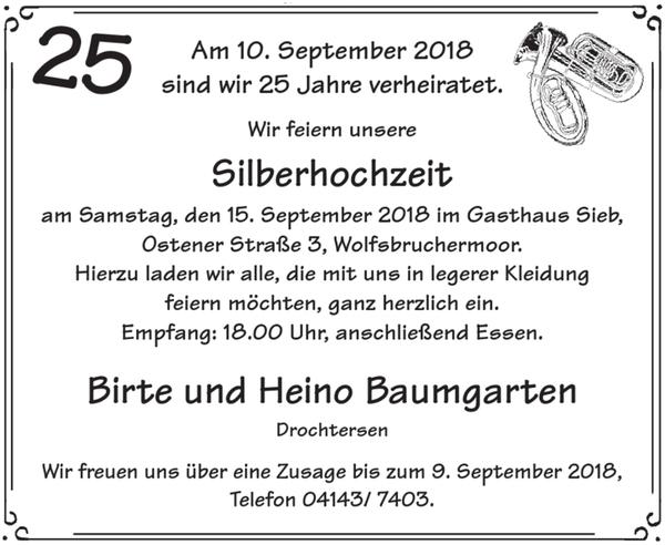 Birte Und Heino Baumgarten Silberhochzeit Stader Tageblatt