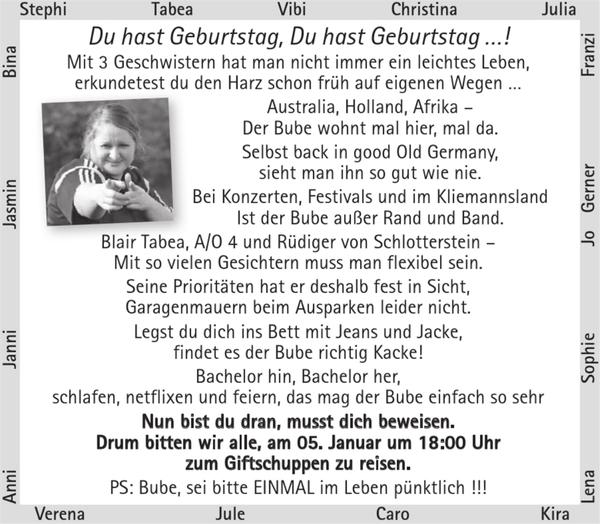 Du Hast Geburtstag 30ter Geburtstag Stader Tageblatt