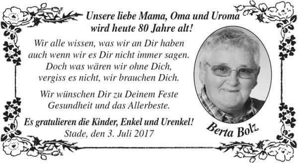 Liebe Mama Oma Und Uroma Geburtstag Stader Tageblatt