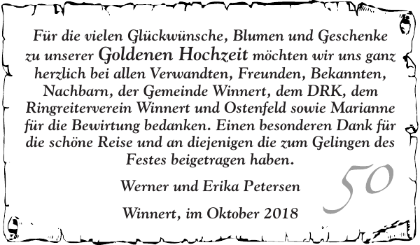 Fur Und Geschenke Goldene Hochzeit Flensburger Tageblatt