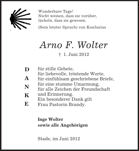 Arno F. Wolter : Danksagung, Stader Tageblatt