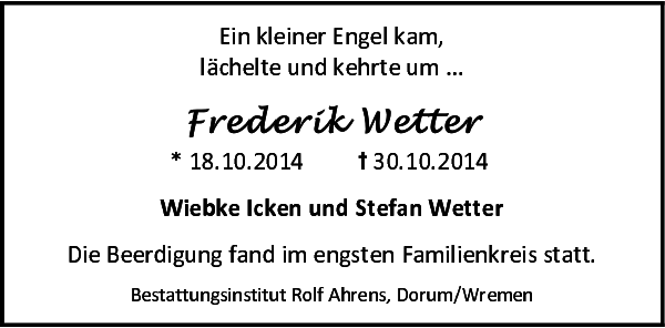 Frederik Wetter Gedenken Nordsee Zeitung