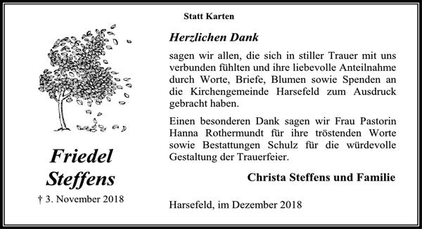 Friedel Steffens Danksagung Stader Tageblatt