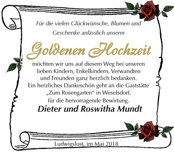 Goldenen Hochzeit Dieter Und Rowitha Mundt Danke Ludwigsluster