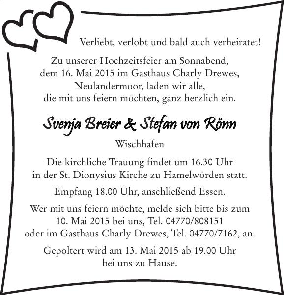 Hochzeitsanzeige Breier Hochzeit Stader Tageblatt