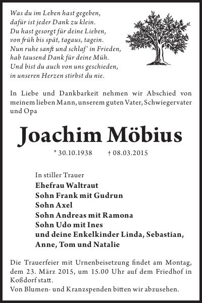 Joachim Möbius : Traueranzeige, Wochen Kurier