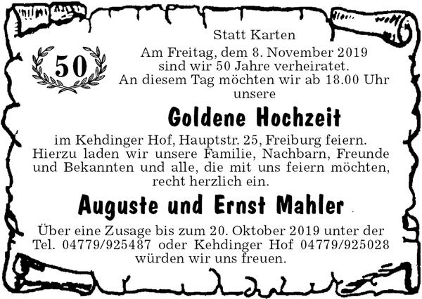 Goldene Hochzeit Auguste Und Ernst Mahler Goldene Hochzeit