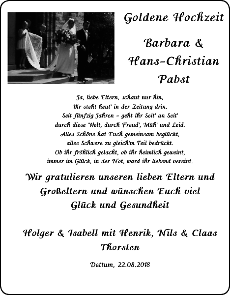 Goldene Barbara Hans Christian Pabst Geburt
