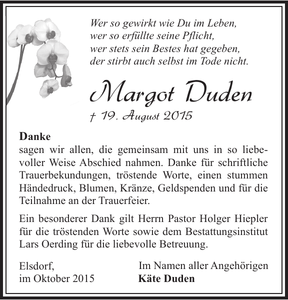 Margot Duden Danksagung Zevener Zeitung