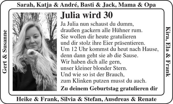 Julia Wird 30 30ter Geburtstag Stader Tageblatt