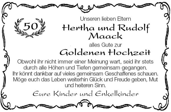 Hertha Und Rudolf Maack Goldene Hochzeit Stader Tageblatt