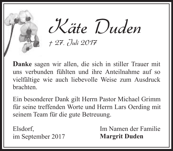 Käte Duden Danksagung Zevener Zeitung
