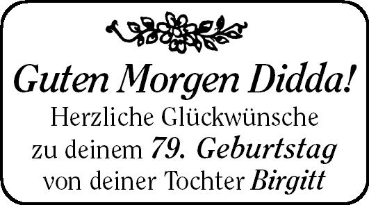 Guten Morgen Didda Geburtstag Stader Tageblatt