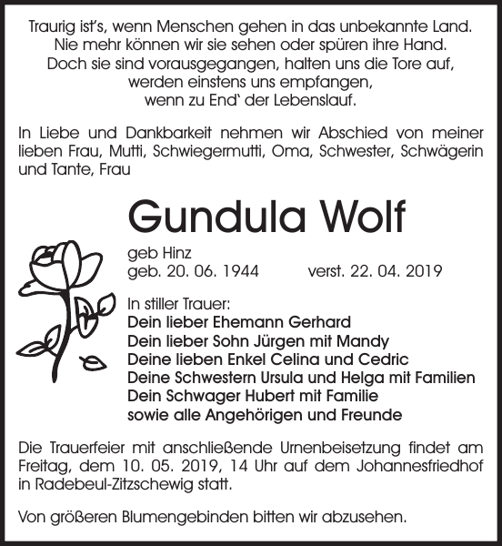 Gundula Wolf Traueranzeige Sächsische Zeitung