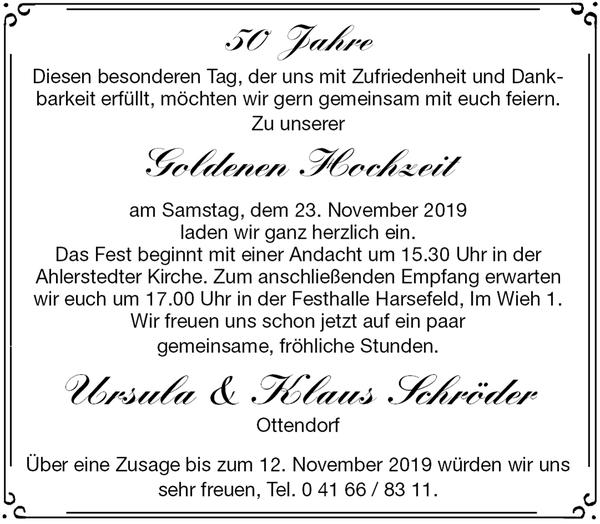 Ursula Schröder Klaus Schröder Goldene Hochzeit Stader