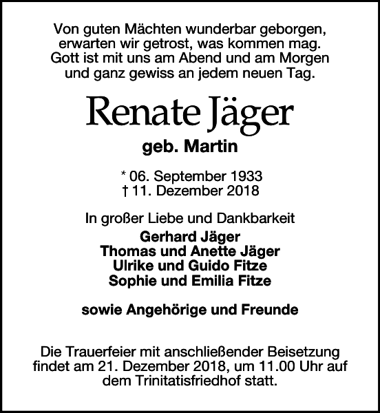 Renate Jäger Traueranzeige Sächsische Zeitung