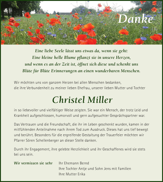 Christel Miller Danksagung Sachsische Zeitung
