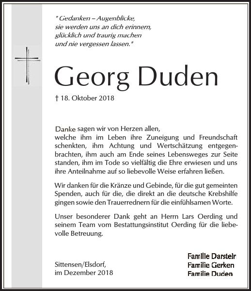 Georg Duden Danksagung Zevener Zeitung