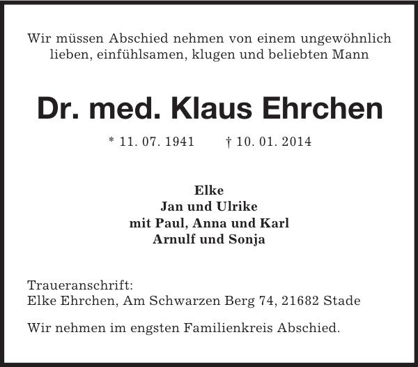 Dr Med Klaus Ehrchen Traueranzeige Stader Tageblatt