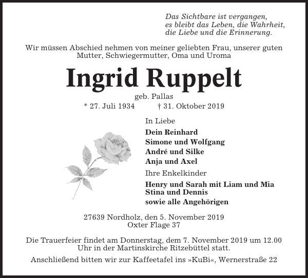 Ingrid Ruppelt : Traueranzeige, Cuxhavener Nachrichten