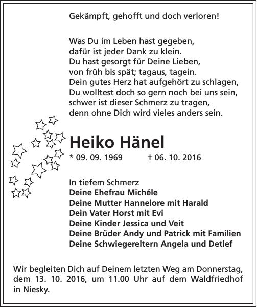 Heiko Hanel Traueranzeige Sachsische Zeitung