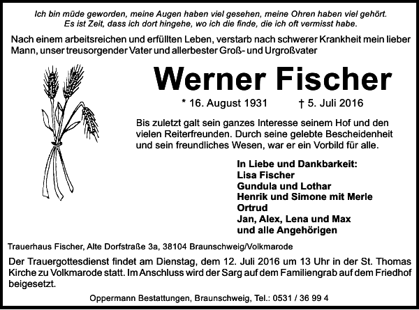 Werner Fischer Traueranzeige Braunschweiger Zeitung
