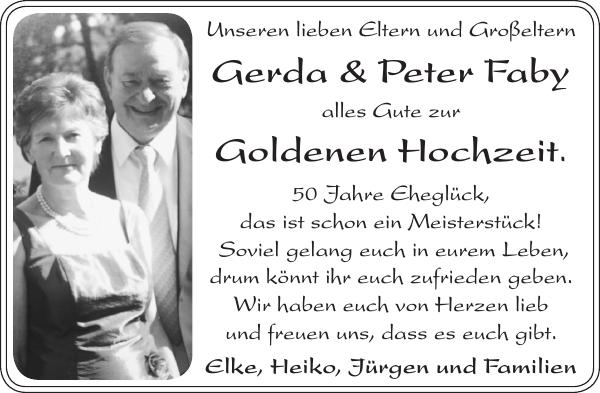 Gerda Und Peter Faby Goldene Hochzeit Stader Tageblatt