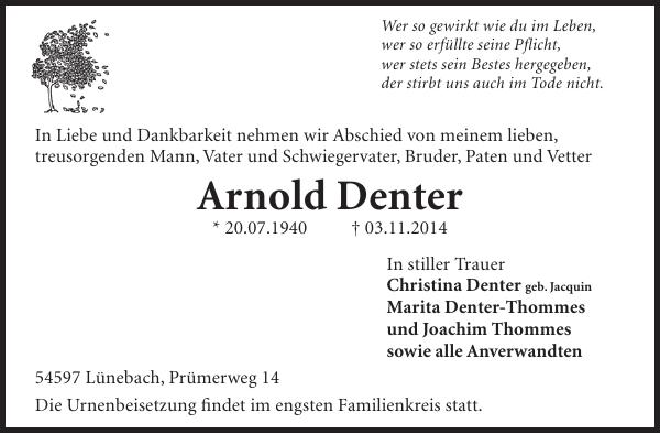 Arnold Denter Traueranzeige Wochenspiegel