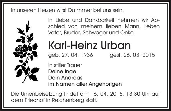 Karl Heinz Urban Traueranzeige Sachsische Zeitung