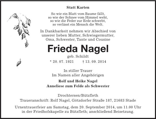 Frieda Nagel Traueranzeige Stader Tageblatt