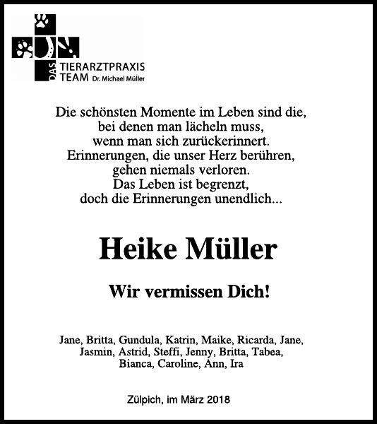 Heike Muller Traueranzeige Wochenspiegel