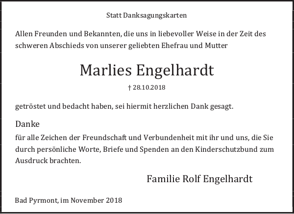 Marlies Engelhardt Danksagung Deister Und Weserzeitung