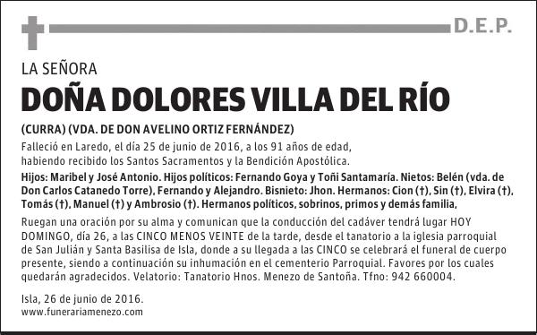 Esquela De Doña Dolores Villa Del Río Esquela Esquela En El