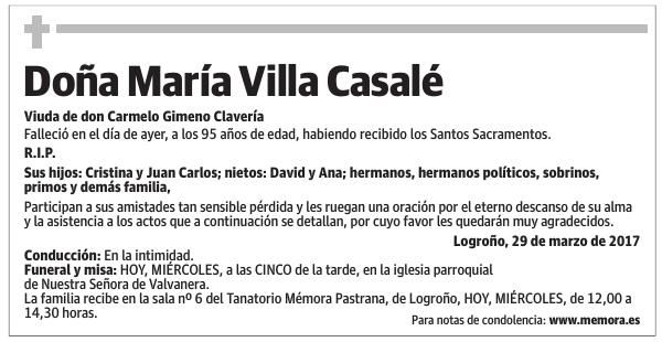 Esquela De Doña María Villa Casalé Esquela Esquela En La Rioja