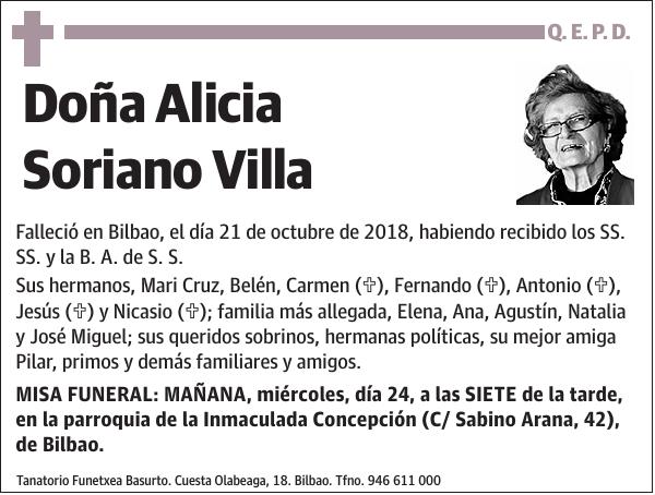 Esquela De Alicia Soriano Villa Esquela Esquela En El Correo